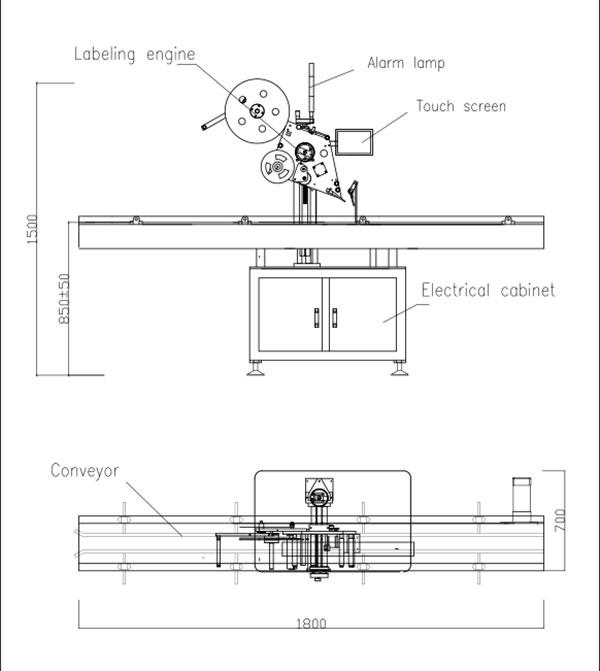 Etichettatrice automatica autoadesiva flat top